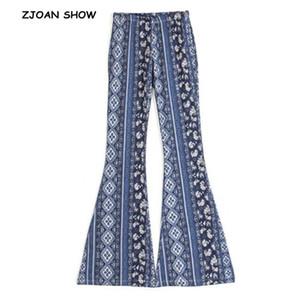 Étnico estampado geométrico Pantalones Flare mujeres bohemio Tribal africana Hippie pantalones Bell Leggings pantalones largos inferiores 4 colores Y19070101