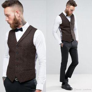 Alta Qualidade Dark Brown Groom Coletes 2019 Lã Tweed Coletes para casamento Custom Made formal terno do noivo Vest Slim Fit Colete For Men