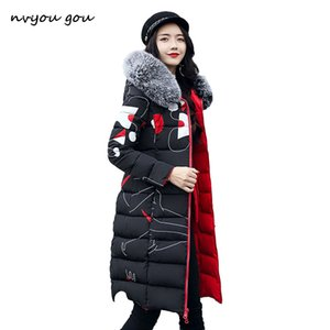 nvyou gou Women Winter Printed Thick Coat Warm Hooded Fur Collar Cotton Long Parka Plus Size Double Sides Wear Slim Jacket