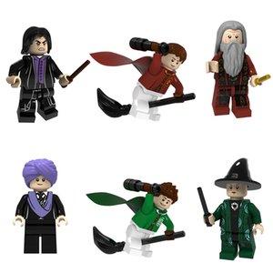 Newest 6pcs Harry Potter Dumbledore Quirrell Snape McGonagall Oliver Wood Mini Toy Figure Model Building Block Brick