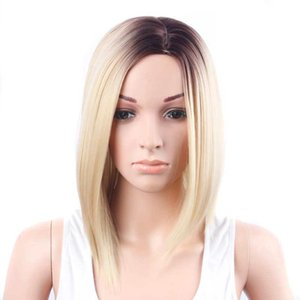 A Fashion Synthetic Hair Bob Short Straight Wigs Natural Hairline Ombre Heat Resistant Fiber Hair 150g  Piece 13inches