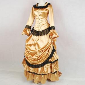 Золото Классический готический викторианской Суета период платье Medieval ретро Викторианский шарика партии мантий