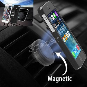 Hot Selling 50pcs Mobile Phone Holder Comptible With Magnetic Car Mount Holder for Phones GPS Air Vent Dashboard + retail package