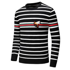 2019 novo livre de logística de moda Men Sweater luxo camisola de manga longa medusa camisola Bee bordados + listras pretas e brancas