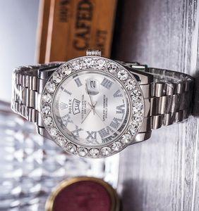 Montre de luxe fashion brand Day-Date Big diamond mens womens sport wristwatch steel band sport waterproof Relogio quartz watch lovers