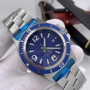 New Super-Ocean 46 Blaus Zifferblatt aus Edelstahl Herrenuhr A17367D81C1A1 automatischen mechanische Silber-Edelstahl-Band-Uhr-Armbanduhr