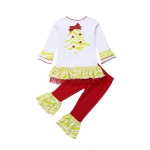 2019 новорожденный малыш ребенок малыш девушка одежда комплект 2шт хлопок футболка платье топ расклешенные брюки рождественский наряд набор костюм партии повседневная
