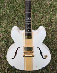 Rare ES 333 Tom Delonge Signature Semi Hollow Body White Gold Stripe Jazz Electric Guitar Black Body Binding, Single Pickup, Gold Hardware