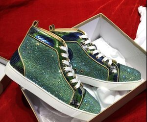 designer mens Red Bottom sneakers Slip-on Roller Boat Mens Women Suede Spike Crystal Leyezzysyezzyboost350v2