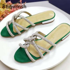 2020 Rhinestone Slippers Women Open Toe Crystal Diamond Cross Strap Flat Shoes Woman Fashion Gladiator Sandals