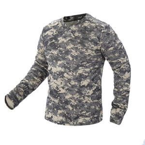 2018 New Tactical Camouflage T Shirt Male Breathable Quick Dry US Army Combat Full Sleeve Outwear T-shirt for Men