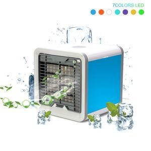 Mini USB humidificador de aire acondicionado portátil purificador de 7 colores de luz de escritorio de aire de refrigeración del aire del ventilador del ventilador del refrigerador de Ministerio del Interior