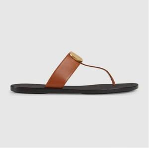 333Genuine donne di cuoio del progettista uomo di lusso sandalo infradito metallo Estate pantofola dimensione Large 35-45 con box