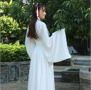 Dans sahne Kumaş Klasik beyaz kostüm Kılıçlar Kadınlar Taçi Cosplay peri kostüm Hanfu giyim Çince Geleneksel antik elbise
