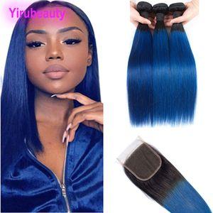 Peruanische Menschenhaar Gerade 3 Bündel mit 4X4-Spitze-Schliessen 1B / Blau Ombre Virgin Hair Extensions 4 Stück Gerade 1b Blau