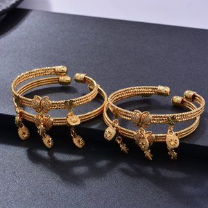 4pcs lot Gold Color Bangle for Girls Baby Kids Butterfly Heart CuBracelet Bells Heart Jewelry Child Christmas Birthday Gifts