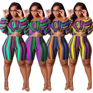 Primavera novas mulheres design de moda elegante sensuais listrado calções longo mangas balão blusa fato de duas peças plus size