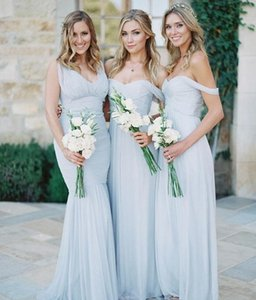 Gorgeous Bridesmaid Dresses Sky Blue Tulle Maid of Honor Dresses Off-shoulder Beach Boho Bohemian Wedding Party Guest Dresses