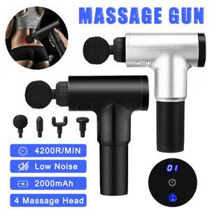 4200R / min Therapie Massage Gun 6-Gang-MuskelMassager Schmerz Sport-Massage-Maschine entspannen sich Körper Abnehmen Relief 4 Köpfe