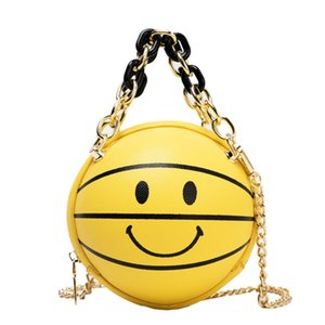 Women Ins Cute Round Basketball Smiling Cartoon Girl's Shoulder Chain Bag Purses and Handbags Women Cross Body Bag Totes #30