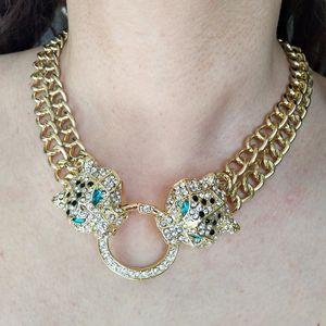 Новый модный дизайнер роскошные хип-хоп Bling Leopard Head женские золотые кубинские ссылка колье ожерелье рэпер ювелирные изделия рождественские подарки для женщин парней