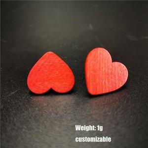 New Heart Earrings Women Stud Earrings Red Wood Jewelry Bohemia Style Cute Valentine's Day Gift Girl Friend Stud Earring