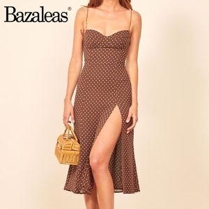 Bazaleas Retro Chic i vestiti sottili vestito sexy marrone Dot Stampa Split vestidos Vintage Top senza spalline donne vestono MX200319
