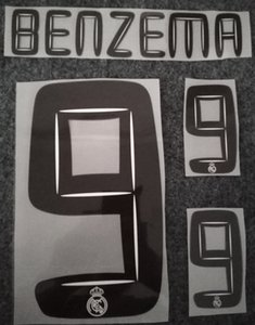 2010 2011 Real Madrid retro printing soccer nameset #9 BENZEMA soccer player's stamping name and number hot printed black plastic stickers