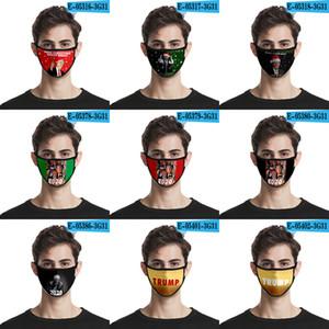 3D máscara 2020 Trump patrón respirable del verano máscara a prueba de polvo impresión de la manera de seda del hielo de tela lavable XD23427