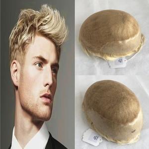 Sarışın Dantel Erkekler Peruk Fransız Dantel Ön ile Erkekler için Cilt Pu Peruk Erkekler Ağartılmış Knot Hairpieces Değiştirme Sistemi # 613 İnsan Saç Erkekler Peruk