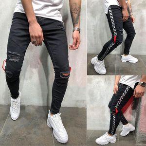 Biker Jeans Ripped Distressed Spring Summer Pencil Pants Hombres Jean Pantalones Mens Black 19ss