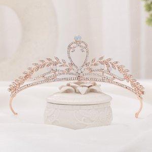 Couleur or rose Forme strass Couronne Feuille Fleur Femmes Tiaras cheveux Hoop mariée Accessoires de mariage Bijoux de cheveux