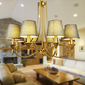 Lustres d'époque Home Éclairage Lumière intérieure Chambre Luminaires gris vert Tissu Cuivre Fer Lustre lampshade 110-240V E14