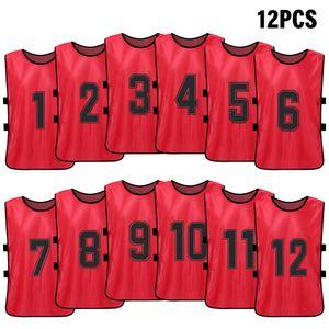 Calcio pinnies secchezza rapido del pullover di calcio della gioventù Sport Rissa di Formazione 12 PCS Sports Vest Kid numerato Pettorali Practice
