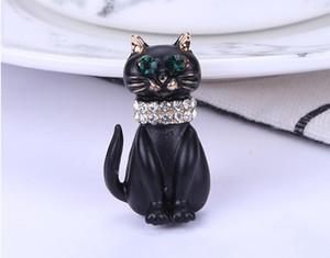 Nuovo gocciolamento olio in lega di gatto spilla di diamanti cartone animato piccolo accessori di abbigliamento spilla pin moda donna 222
