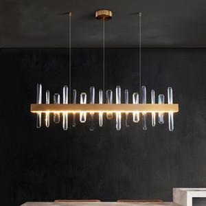 lusso LED decorazione lunga ristorante New lampadario di cristallo illumina isola semplice oro-bronzo Hanging Apparecchio di illuminazione a LED Lustri De Crista