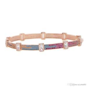 Nlm99 interno diamater zirconi cz gioielli dichiarazione del braccialetto del polsino Boemia Boho 58-60mm colorato baguette per le donne