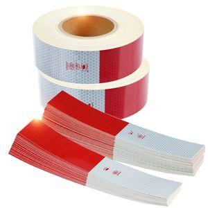 100pcs التي ديكور أحمر أبيض عاكس الشريط تعكس ملصقات مقطورة العاكس تحذير السلامة تحذير الشريط للدراجات النارية لاصقة