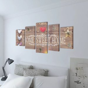 September 5 pcs Print on Canvas by Wall Home Sweet Home Design 200 x 100 cm Wall Stickers