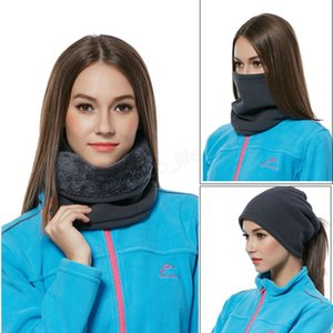 Multifunción Ponytail Neck Scarf Beanies Invierno Mujer Ciclismo Sombrero Warm Fleece Plush horsetai Ski Outdoor Ajustable Caps bufandas LJJA2964
