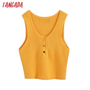 Tangada women V neck knit crop top tank sleeveless backless short shirts female casual solid tops BE751