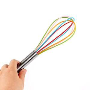 10 Inch Wire Whisk Stirrer Mixer Egg Beater Color Silicone Egg Whisk Stainless Steel Handle household Baking Tool ZZA2356 400Pcs