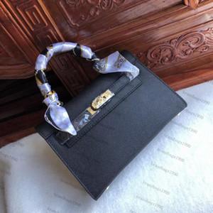 Boa Stamped 22CM Mini Mulheres Totes Genuine couro Moda sacos Bolsa de Ombro Com Bloqueio Scarf cavalo bolsa por atacado de alta qualidade