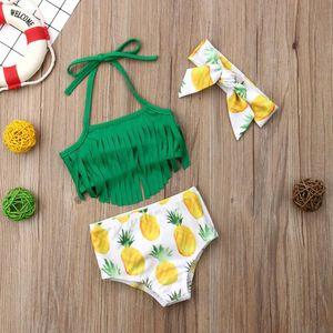 Hirigin Baby Girls Bikini 2020 Baby Kids Swimwear Tassels Fruit Pritned Swimming Suit With Headband Free 3 Piece Set Beachwear