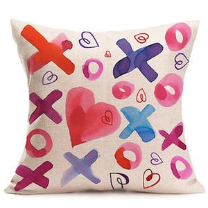 Paar Einseitiger Druck Rosa süße Leinen Pillowcase Customized Design Kaffeestube Kissenbezug 45 * 45cm Startseite Sofa-Kissenbezug DH0831 T03