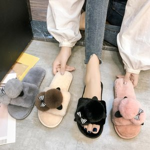 Spring Cute Plush House Slippers Women Cartoon Cat Open Toe Comfortable Family Slippers Ladies Indoor Slapping Shoes