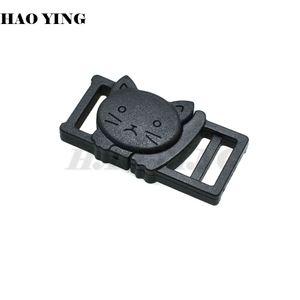"100pcs lot 3 8"" Cat-Head Plastic Black Safty Breakaway Buckles For Cat Collar Paracord Webbing Garment Accessories"