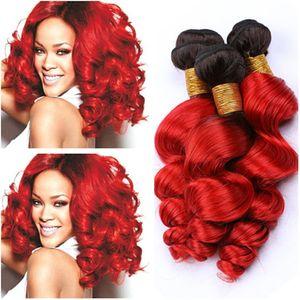 "# 1B / Red Ombre Loose Wave 페루 머리카락이 두 배로 길들여 져 검은 색으로 밝은 빨간색 옴브린 버진 사람 머리카락 묶음 3 개 10-30 ""혼합 길이"