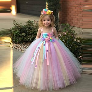 2019 Ragazze Unicorn Flower Tutu bambini Crochet di Tulle di sfera Strap + Headwear 2pcs partito dei bambini del vestito dal costume T200107