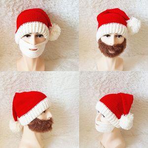 Santa Claus Knit Hat Creative Pom Pom Christmas Beanie Caps Adult XMAS Decor Festival Gifts Home Party Supplies TTA1844
